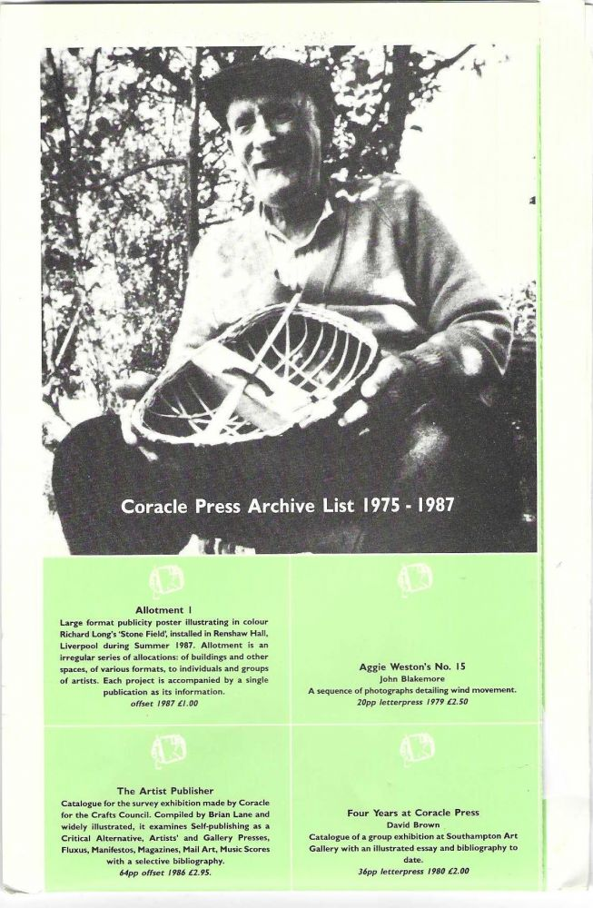 From first panel]: Coracle Press Archive List 1975-1987. CORACLE