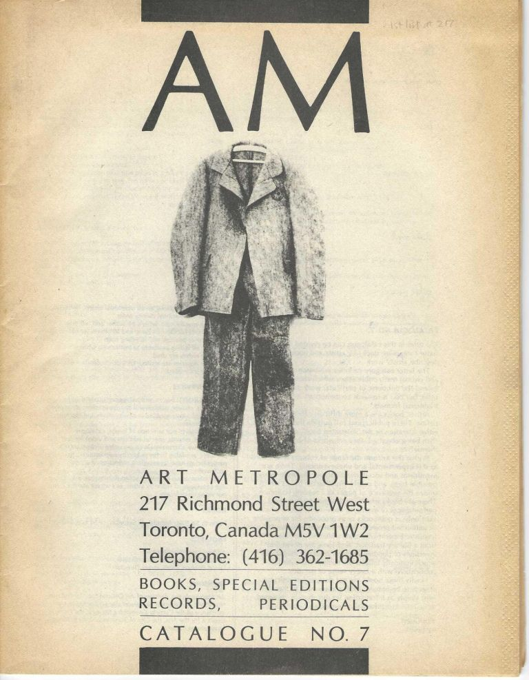 [From upper wrapper]: Books, Special Editions, Records, Periodicals: Catalogue No. 7. bookseller ART METROPOLE.