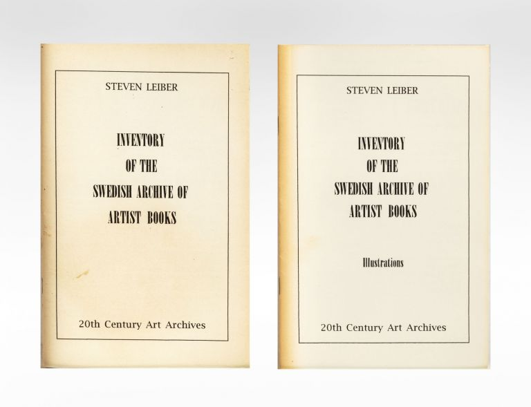 [From upper wrappers]: Inventory of the Swedish Archive of Artist Books. Steven LEIBER, bookseller.