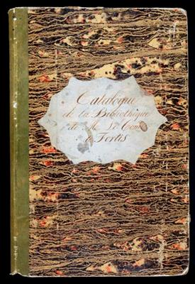 "Manuscript on paper entitled ""Catalogue de la Bibliothéque de M. Le Comte de Fortis,"" written throughout in a neat hand. 61 pages with entries and several hundred blank pages. Folio (330 x 200 cm.), cont. green reversed calf-backed marbled boards (a little worn). François Marie FORTIS, Comte de."
