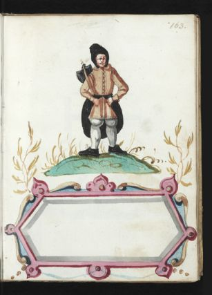 Illustrated manuscript on paper, one blank leaf, 173 leaves, each with a full-page richly colored trade mark, in many hues including silver, of the iron mills active in the Sankt Gallen area of Upper Styria in Austria. Small 4to (190 x 145 mm.), cont. blind-stamped panelled vellum (a little worn & defective), orig. clasps & catches.