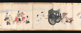 "Illustrated manuscript scroll ""Haseo Soshi Emaki"" [trans.: ""Narrative Picture Scroll of Haseo Soshi""], complete, emakimono, manuscript on paper, five paintings in color, five manuscript texts, top & bottom edges of scroll in gold, 38 x 1127 cm., brocade endpapers, in a fitted wooden box."