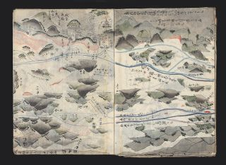 "A fine and handsomely illustrated cartographic manuscript (""Kaiji zu"" or ""Kairo zu"" [trans.: ""Nautical Charts""]) on rice paper, prepared by Tsugihei (or Wahei or Jirobei) Miyachi. 2 pp. of preliminary text, 27 finely colored double-page maps (strip maps bound up in consecutive order), 11 pp. of text. Large 8vo (312 x 225 mm.), self-wrappers (first four leaves with paper repair in lower outer corner, with some minor loss of text & image), old stitching."