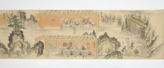 Two finely illustrated manuscript scrolls, scroll I: 11,500 x 268 mm. & scroll II: 11,880 x 268 mm. on fine paper, with numerous explanatory captions.