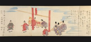Finely illustrated scroll on paper in brush and color, 270 x 8670 mm., silk brocade endpapers.