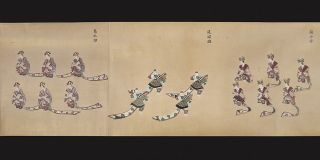 Three picture scrolls (emakimono) on fine paper, with a series of exquisite paintings in vivid colors of Chinese boys (karako) caring & transporting their birds for cockfighting matches with several court scenes. Three scrolls (327 x 3110mm., 327 x 3110 mm., & 327 x 3070 mm.), their backs of shiny paper flecked with gold leaf, brocade endpapers.