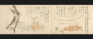 "Two finely illustrated scrolls with 35 scenes in ink and color entitled ""Ezo shima kikan"" or ""Ezo to kikan"" (""Strange sights in the island of Ezo""), by Okumaru Hata. Two scrolls, 300 x 9110 mm. & 300 x 9540 mm. [Japan: ca. 1818-43]."