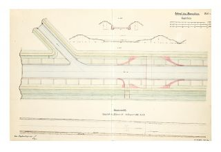 Two albums of related manuscript drawings of engineering projects in Germany for river &...