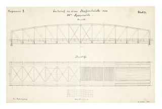 Two albums of related manuscript drawings of engineering projects in Germany for river & waterway control (Vol. I) and the building of bridges for railways and roads (Vol. II). Vol. I: eleven finely drawn & hand-colored plates (five single-page, four double page (415 x 650 mm.), and two double-page & folding (820 x 650 mm.); Vol. II: ten finely drawn & hand-colored double-page (one triple-page) plates (415 x 650 mm). Two vols. Large 4to (420 x 348 mm.), orig. cloth. [Germany]: 1890-93.