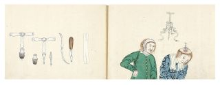 """Manuscript on high quality mulberry paper, entitled """"Geka Soden"""" or """"Koi Geka Soden"""" or """"Nanban Geka Soden"""" [trans.: """"Complete Manual of Surgery"""" or """"Red-Head Style Surgery Text""""]. 134 finely drawn & colored illus., including multiple illus. on many of the leaves, some full-page. 38 leaves (two are blank); 38 leaves (two are blank); 25 leaves (two are blank). Three vols. Small oblong folio (235 x 325 mm.), orig. patterned wrappers, new stitching. Japan: Preface in first volume dated 1706."""