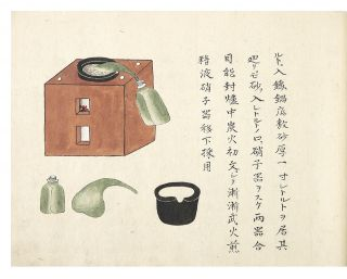"Manuscript on high quality mulberry paper, entitled ""Geka Soden"" or ""Koi Geka Soden"" or ""Nanban Geka Soden"" [trans.: ""Complete Manual of Surgery"" or ""Red-Head Style Surgery Text""]. 134 finely drawn & colored illus., including multiple illus. on many of the leaves, some full-page. 38 leaves (two are blank); 38 leaves (two are blank); 25 leaves (two are blank). Three vols. Small oblong folio (235 x 325 mm.), orig. patterned wrappers, new stitching. Japan: Preface in first volume dated 1706."