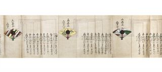 "Two finely illustrated orihon (or folded books, accordion style) manuscripts, measuring 249 x 6032 mm. & 249 x 14,832 mm., depicting a series of 44 (of 45, lacking the first image in the first vol.) finely painted scenes relating to marksmanship using matchlock muskets. Title in second vol.: ""Teppo gokui meate sadame"" [trans.: ""Ultimate Method of Eyes focusing on the Target using a Matchlock Musket""]. 8vo, orig. shiny stiff wrappers, label on upper cover of Vol. I ""Teppo gokuiwaza yokogaki"" [trans.: ""Matchlock Musketry, Ultimate Positioning Techniques""]; Vol. II: ""Kugo asagiri"" [trans.: ""Morning Dew""]. In excellent condition, the paper very shiny with mica & specially prepared, all leaves ruled in gold, silver, & red. N.p. [but Japan]: dated in the postscript at the end of second volume ""1607."""