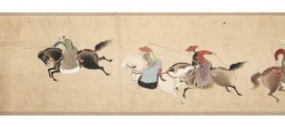 """Finely illustrated scroll on three long joined sheets of paper measuring 462 x 4610 mm., title on the antique wooden box reading: """"Dakyu zu emaki"""" [trans.: """"Illustrated Scroll of Polo""""], signed at bottom """"Ikyo Kano."""""""