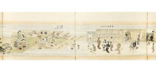 "Illustrated scroll on paper, entitled ""Shiki no susami"" [trans.: ""Four Seasons of Pleasure Seeking""]."