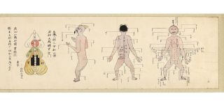 A finely drawn & painted acupuncture and moxibustion scroll on four joined sheets of paper...