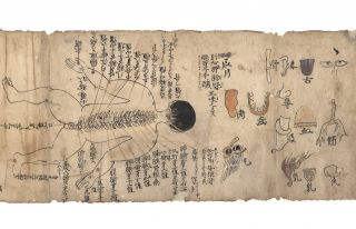 "Illustrated scroll on paper entitled ""Gozo roppu"" and ""Keiketsu"" [trans.: ""Illustrated scroll of the Five Organs and Six Viscera"" and ""Pressure Points illustrated""]. Scroll on thin paper (275 x 3780 mm.), with numerous pen, ink, and color drawings. At end, we find in Japanese ""copied by Saburouemon [and] Yojuro Igarashi 1708 at Aizu, Tashiromura Village."""
