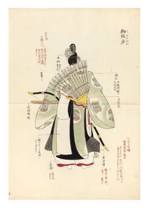 Manuscript albums of notes and the original drawings & paintings relating to his notable publication Rekisei fuzoku joso enkakuzu ko [trans.: Historical Customs & Costumes for the Women] of which a revised edition was published in Tokyo in 1911.