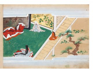 "Illustrated manuscript on superior paper, a picture album of ""Ishimochi no soshi""..."
