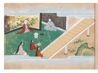 "Illustrated manuscript on superior paper, a picture album of ""Ishimochi no soshi"" concerning the life of samurai Shigetada Hatakeyama. With 18 fine & richly colored paintings, of high finish and luxury employing gold, copper, & silver; top & bottom of each painting framed with pale blue ""misty"" borders; text written in a fine calligraphic hand in black ink. 23; 27 (one blank); 27 leaves. Three vols. Oblong 8vo (170 x 245 mm.), orig. dark blue wrappers (rubbed with a little wear) with gold paintings on all covers, orig. orange paper title labels on upper covers, endpapers richly speckled in silver & gold, new stitching. Japan: copied ca. 1661-73 [Kanbun era]."