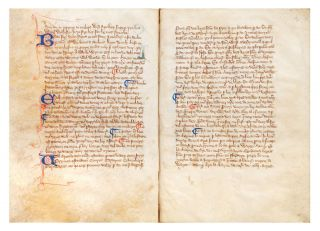 Decorated manuscript on vellum, in Anglo-Norman French, of Walter of Henley's Hosbondrye, seven leaves (lacking the final leaf). Small 4to (198 x 140 mm.), single column, 29 lines (text block: 128 x 90 mm.), text written throughout in one hand in Anglicana, 24 initials in blue with pen flourishing in red, oftentimes with seven- or eight-line extensions in margins, chapter divisions in red & blue.