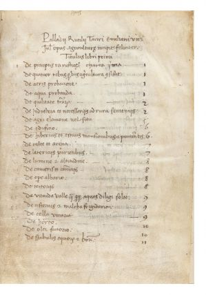 Manuscript on vellum of Opus Agriculturae, 112 leaves (the first blank), small 4to (155 x 115...