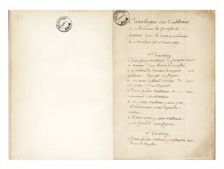 Manuscript drop-titles]: Catalogue des Tableaux de Madame la Comtesse de Verrue dont la Vente a...