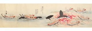 A long, dramatic, and very finely illustrated scroll on paper (backed with mica paper & with...