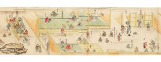 Two finely illustrated manuscript scrolls, scroll I: 270 x 12,440 mm. & scroll II: 270 x 10,340 mm., on fine paper, with many brush & color paintings & numerous explanatory captions, each with gold fabric front endpapers, recently & carefully backed.
