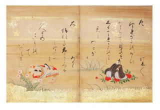 """Illustrated manuscript on superior torinokogami or hishi paper, entitled in manuscript on labels on upper covers """"Mushi no Uta-awase"""" (""""Poetry Match of Insects""""), with 15 fine double-page paintings attributed to Ryuho Hinaya."""