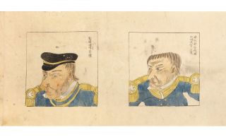 Two finely illustrated scrolls depicting Commodore Perry's second and decisive visit to Japan, with a focus on American technology and products.