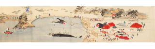 """Manuscript scroll on paper entitled """"Kujirakata shosha zue"""" [""""Genuine copied illustrations of the whaling techniques of Taiji revealed from the source""""]."""