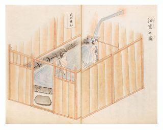 "Manuscript on paper, manuscript labels on upper covers entitled ""Atami Onsen zuko"" [""The Hot Springs of Atami, explained with illustrations""]. Written by Tsuki Shirai."
