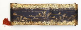 "Manuscript sutra scroll on indigo-dyed paper of the ""Gokito-kyo Hokkekyo"" (""The Gokito-kyo Lotus Sutra"")."