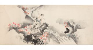 "Scroll on paper depicting the story of ""Momotaro"" [""The Tale of Peach Boy&rdquo"