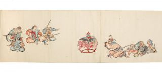 """Scroll on paper depicting the story of """"Momotaro"""" [""""The Tale of Peach Boy""""]."""