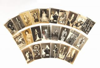 A vast collection of ca. 2500 photographic postcards (ehagaki) of kabuki actors in costume, along with a large selection of kabuki-related vernacular photographs.