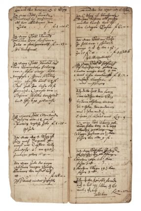 "Manuscript in German, written in ink in several clerical hands on paper, entitled ""Laus Deo. Anno Christi 1598. Leibtziger Ostermarck Büchlein Sambt. [with the hallmark of Straub] Schüld unnd Gegen-Schüldt Register. Gott der Almechtige verleye seinen gotlichen Segen tzü Nützbarlicher verrichtung Unnd Einbringung der Schulden Amen"" [trans.: ""Praise God. Anno Christi 1598. Leipzig Easter Fair booklet including a register of debts and counter debts. May God the Almighty give his divine blessing to the advantageous performance and recovery of these debts. Amen""]."