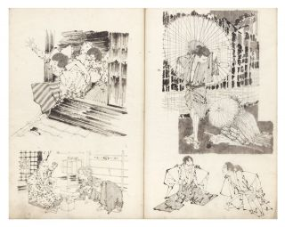 Sketchbook with 99 dramatic & highly finished hand-drawn studies by the artist.