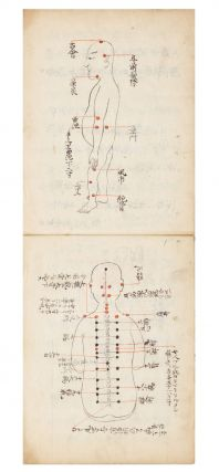 """Manuscript on paper entitled on label on upper cover: """"Shinkyu hyaku mondo [with symbol for 'Otsu']"""" [""""Acupuncture & Moxibustion: 100 Questions & Answers. Part 2{?}""""]."""