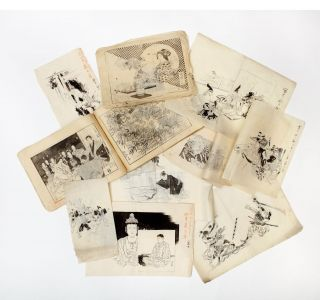 A large collection of about 200 highly accomplished drawings, ranging from sketches to extremely finished drawings, accompanied by ca. 140 artist's proofs, some corrected in red.