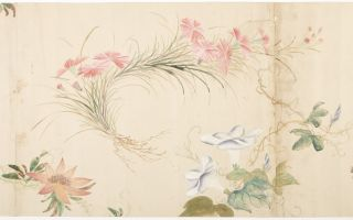 """Scroll on paper entitled from label at beginning (in trans.) """"[Three characters we can't read] Four Seasons Plants and Flowers Illustrated. One Scroll."""""""