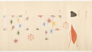 """Scroll of paper entitled from old label on outside & at beginning of scroll: """"Takagari shozoku"""" [""""Ceremonial Costumes for Falconers""""]."""