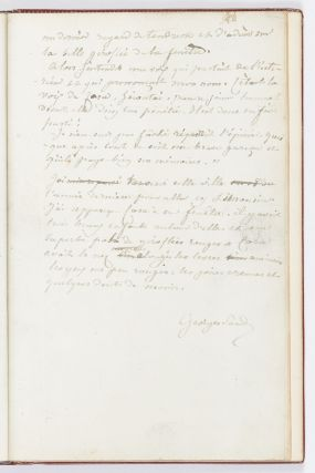 "The complete working autograph manuscript of George Sand's Cora, with numerous corrections, additions, & deletions, 44 leaves, written in ink on rectos only, numbered by hand, and signed ""Georges Sand"" on the final leaf. 8vo (200 x 133 mm.), fine red morocco, ""FA"" monogram inlaid in blue morocco on upper cover, blue morocco doublures decorated with gilt fleurons (signed ""Paul Romain Raparlier""), spine gilt. N.p.: [1832-33]."