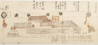 A vividly illustrated scroll, with a number of very rare images depicting Perry's first expedition to Japan, along with a comprehensive list of supplies & gifts provided by the Japanese to the American squadron.