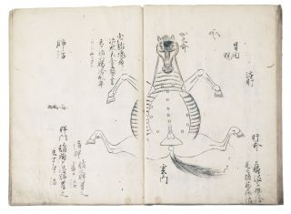 """Manuscript on paper, entitled on upper cover in manuscript """"Uma tsukaikata. Gozo ron hiso"""" [""""For the Horse Doctors: Theory of the Five Organs. Secret Information Written""""]."""