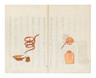 "Illustrated manuscript on paper, entitled on manuscript label on upper cover ""[first two characters cannot be read but probably a reference to Dutch teaching] ryu abura gusuri shuge"" [""[first two characters] School's Collection of Descriptions of Oil Medicines""]; title on first leaf ""Oranda abura gusuri no shuge"" [""Collection of Dutch Oil Medicines Described""]."