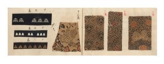 "A manuscript swatch book entitled on upper cover ""Komon Nameshigawa""..."