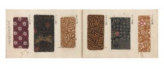 "A manuscript swatch book entitled on upper cover ""Komon Nameshigawa"" [""Traditional Patterns for Tanned Leather""]."