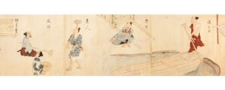 Scroll on paper, finely illustrated with a series of 33 paintings in brush & various colors of wash.