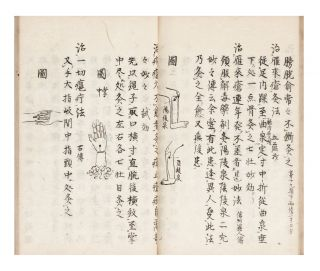 "Manuscript on paper, entitled in manuscript on title label on upper cover & on first leaf: ""Kyuji hizoku den"" [""Acupuncture Treatments Passed on from Many Sources""]."